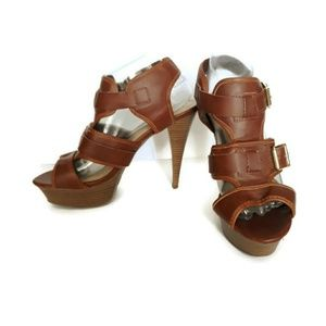 Mossimo Pavan Brown Buckle Heels Size 9.5